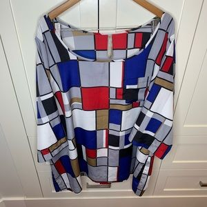 Geometric Graphic Blouse with Colour Blocking